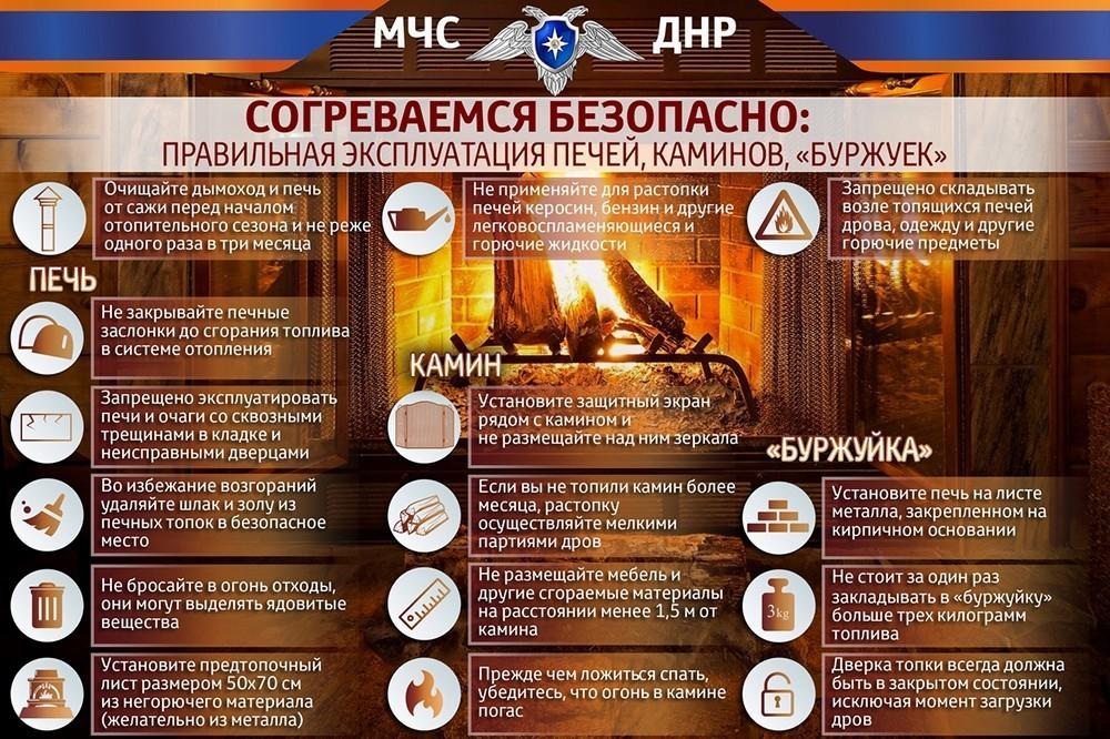 МЧС ДНР информирует население о правильной эксплуатации печей и каминов